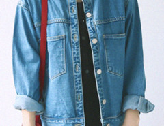 Blue Stand Collar Pocket Detail Denim Coat Choies.com online fashion store United Kingdom Europe