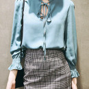 Blue Stand Collar Tie Front Elastic Cuff Long Sleeve Blouse Choies.com online fashion store United Kingdom Europe