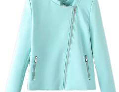 Blue Stand Collar Zipper Detail Coat Choies.com online fashion store United Kingdom Europe