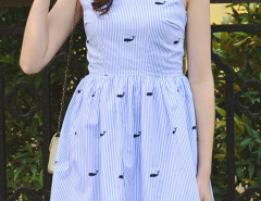 Blue Stripe Embroidery Whale Pattern Skater Dress Choies.com online fashion store United Kingdom Europe