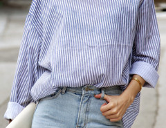 Blue Stripe Long Sleeve Back Button Detail Shirt Choies.com online fashion store United Kingdom Europe