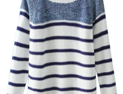 Blue Stripe Long Sleeve Knitted Sweater Choies.com online fashion store United Kingdom Europe