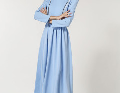Blue Stripe Panel Waist Belt Peter Pan Collar Dress Choies.com online fashion store United Kingdom Europe