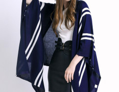 Blue Stripe Pattern Button Detail Knitted Cardigan Choies.com online fashion store United Kingdom Europe