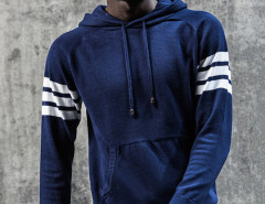 Blue Striped Sleeve Pocket Front Hooded Jumper Choies.com online fashion store United Kingdom Europe