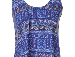Blue Tribal Print Multi Strap Cami Vest Choies.com online fashion store United Kingdom Europe