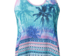 Blue Tropical Print Key Hole Back Vest Choies.com online fashion store United Kingdom Europe