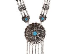 Blue Turquoise Ornate Disc Drop Statement Necklace Choies.com online fashion store United Kingdom Europe