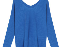 Blue V Neck Long Sleeve Knit Sweater Choies.com online fashion store United Kingdom Europe