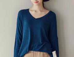 Blue V Neck Long Sleeve T-shirt Choies.com online fashion store United Kingdom Europe