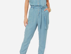 Blue V Neck Tie Waist Denim Jumpsuit Choies.com online fashion store United Kingdom Europe