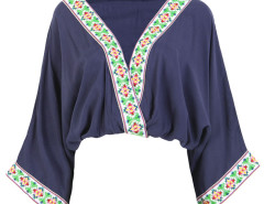 Blue V-neck Folk Embroidery Trims Drape Blouse Choies.com online fashion store United Kingdom Europe