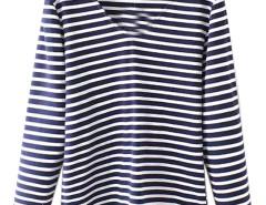 Blue V-neck Stripe Long Sleeve Basic T-shirt Choies.com online fashion store United Kingdom Europe