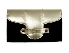 Bond Street Black Cloth and Leather Clutch Carnet de Mode online fashion store Europe France