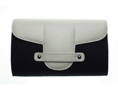 Bond Street Black Cloth and Leather Clutch Carnet de Mode online fashion store Europe France