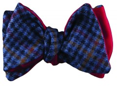 Bow tie - Cashmere pied de poule - blue Carnet de Mode online fashion store Europe France