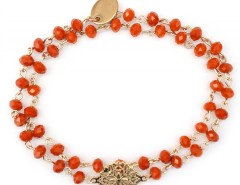 Bracelet with Gold Rose Window Charm and Coral Pearls Amandine Carnet de Mode online fashion store Europe France
