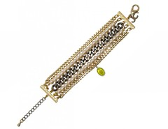 Brass and Pearl Bracelet with a GreenCharm LOUXOR JCB01 Carnet de Mode online fashion store Europe France