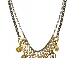 Brass and Pearl Necklace with Charms and Medals LOUXOR JCN22 Carnet de Mode online fashion store Europe France