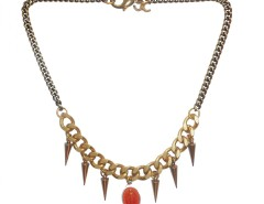 Bronze Brass Necklace with Spikes and an Orange Charm LADYLAND J Carnet de Mode online fashion store Europe France