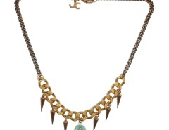 Bronze Brass Necklace with a Blue Charm LADYLAND JC23 Carnet de Mode online fashion store Europe France