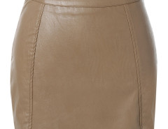 Brown Asymmetric Hem PU Bodycon Skirt Choies.com online fashion store United Kingdom Europe
