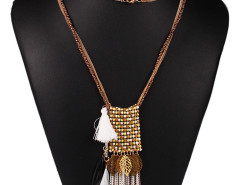 Brown Bead Fringe Leaf And Feather Pendant Multirow Necklace Choies.com online fashion store United Kingdom Europe