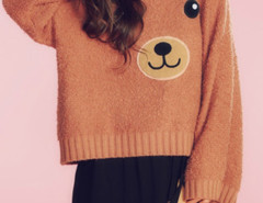 Brown Bear Pattern Long Sleeve Loose Jumper Choies.com online fashion store United Kingdom Europe