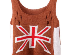 Brown Character Mi Cut Out Ripped Knit Vest Choies.com online fashion store United Kingdom Europe
