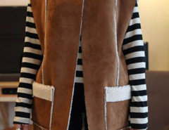Brown Collarless Pocket Detail Shearling Lining Suede Waistcoat Choies.com online fashion store United Kingdom Europe