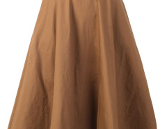 Brown High Waist Belted Waist Skater Skirt Choies.com online fashion store United Kingdom Europe
