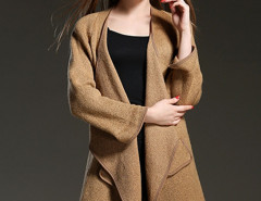 Brown Long Sleeve Waterfall Open Front Cardigan Choies.com online fashion store United Kingdom Europe