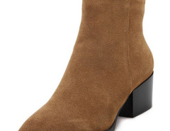 Brown Pointed Toe Contrast PU Detail Heeled Boots Choies.com online fashion store United Kingdom Europe
