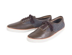 Brown Sneakers in Leather and Tweed - Robert Carnet de Mode online fashion store Europe France