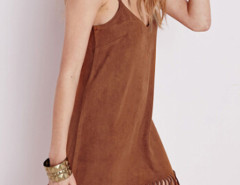 Brown Suedette Fringed Hem V-neck Cami Dress Choies.com online fashion store United Kingdom Europe