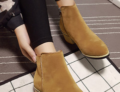 Brown Suedette Pointed Zipper Side Ankle Boots Choies.com online fashion store United Kingdom Europe