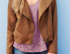 Brown Suedette Tasseled Back Lapel Jacket Choies.com online fashion store United Kingdom Europe