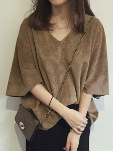 Brown V Neck 3/4 Sleeve Suede Loose T-shirt Choies.com online fashion store United Kingdom Europe