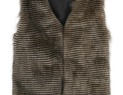 Brown Variegated Peacock Stripe Faux Fur Waistcoat Choies.com online fashion store United Kingdom Europe
