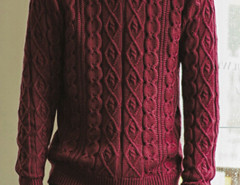 Burgundy Cable Knit Ribbed Jumper Choies.com online fashion store United Kingdom Europe