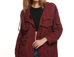 Burgundy Casual Pocket Button Front Jacket Choies.com online fashion store United Kingdom Europe
