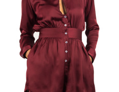 Burgundy Cut Out Front Shirt Collar Romper Playsuit Choies.com online fashion store United Kingdom Europe
