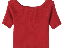 Burgundy Off Shoulder Short Sleeve Tight Knitted Crop Top Choies.com online fashion store United Kingdom Europe