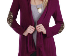 Burgundy Sequined Embellished Sleeve Cardigan Choies.com online fashion store United Kingdom Europe