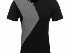 COOFANDY Fashion Men Slim Fit V Neck Patchwork T-Shirt Tee Tops Cndirect online fashion store China