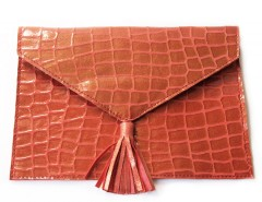 Case - croco printed suede - red Carnet de Mode online fashion store Europe France
