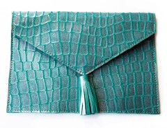 Case - croco printed suede - turquoise Carnet de Mode online fashion store Europe France