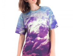Clouds Printed Polyester T Shirt Carnet de Mode online fashion store Europe France