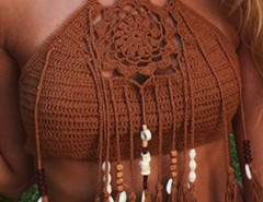 Coffee Halter Crochet Bead Tasseled Crop Top Choies.com online fashion store United Kingdom Europe