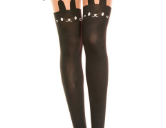 Color Block Cute Bear Over The Knee Tights Choies.com online fashion store United Kingdom Europe